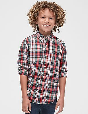 GAP Toddler Boy Red Poplin Plaid Long Sleeve Shirt