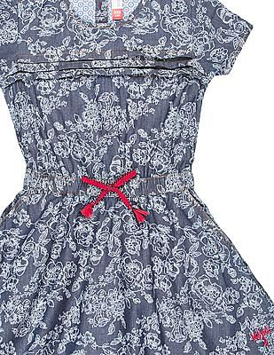 U.S. Polo Assn. Kids Girls Floral Printed Fit And Flare Dress