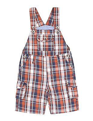 Donuts Boys Checked Cotton Dungarees
