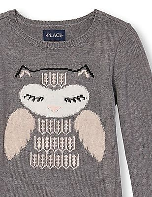 The Children's Place Girls Grey Long Sleeve Intarsia-Knit Embellished Graphic Sweater