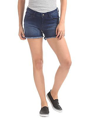 EdHardy Women Standard Fit Stone Wash Shorts