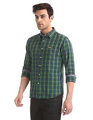 Flying Machine Elbow Patch Check Shirt