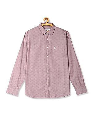 U.S. Polo Assn. Red Long Sleeve Patterned Shirt