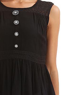 Bronz Lace Trim Sleeveless Tunic