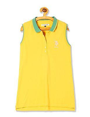 U.S. Polo Assn. Women Contrast Collar Cotton Polo Shirt