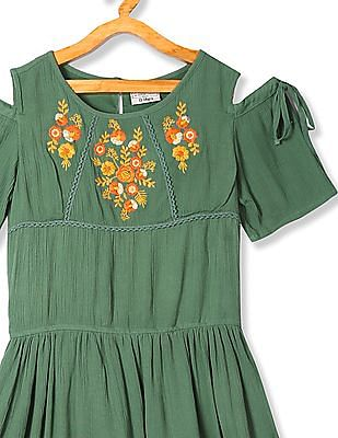 Cherokee Green Girls Cold Shoulder Embroidered Dress