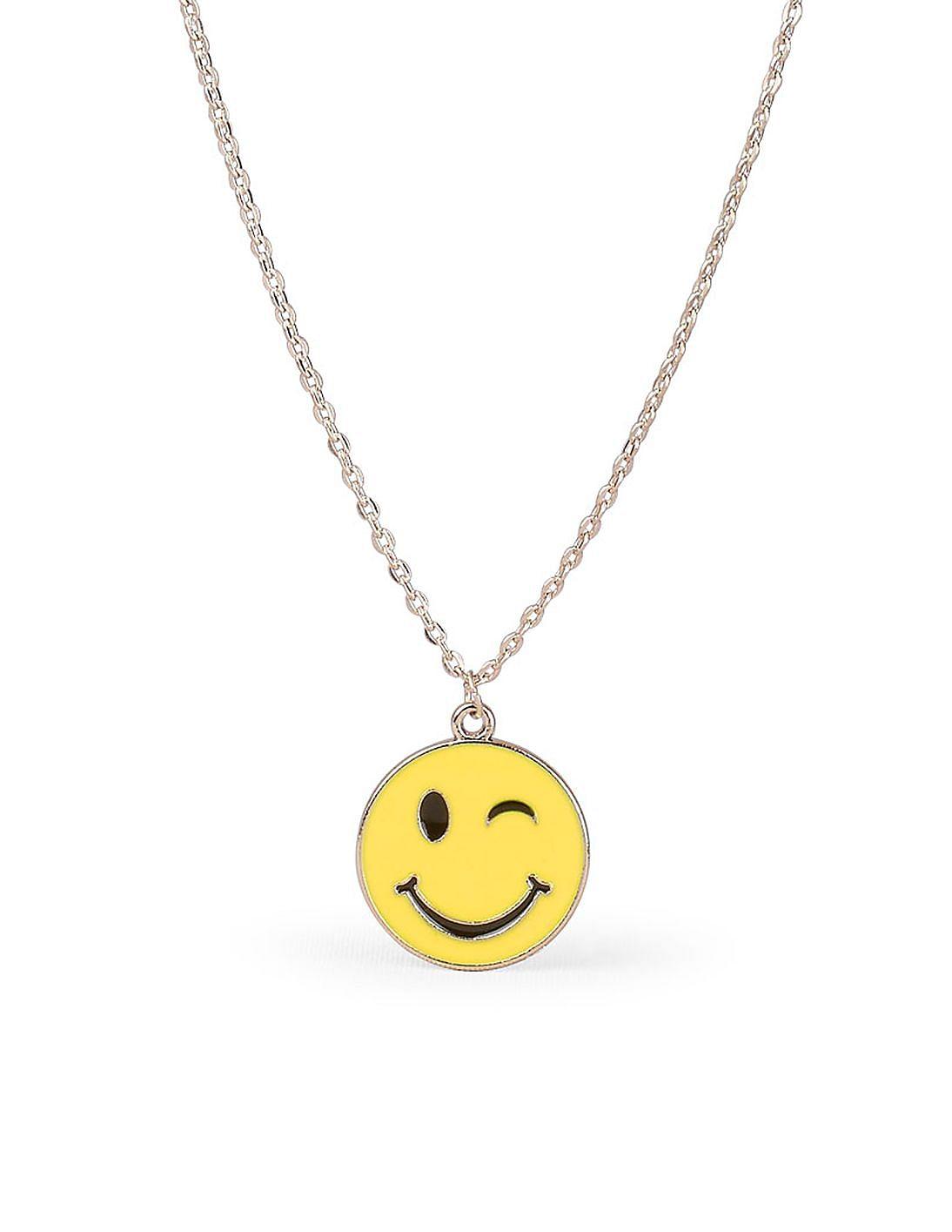 Buy Girls Girls Winking Emoji Face Necklace online at NNNOW com