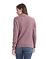 Cherokee Pink Crew Neck Patterned Knit Sweater