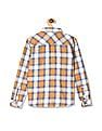 Cherokee Yellow Boys Barrel Cuff Check Shirt