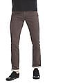 Flying Machine Brown Slim Fit Washed Trousers