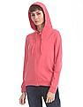 Flying Machine Women Pink Hooded Solid Sweatshirt