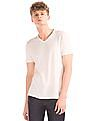 GAP Men White Cotton Linen V-Neck Tee