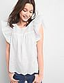GAP Women White Eyelet Embroidery Flutter Sleeve Top