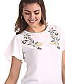Cherokee White Flared Sleeve Printed Front Top