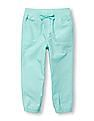 The Children's Place Toddler Girl Solid Knit Waistband Woven Joggers