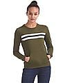 Flying Machine Women Striped Front Crew Neck Sweatshirt