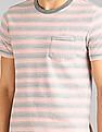 GAP Men Pink Essential Stripe Crew Neck Pocket T-Shirt