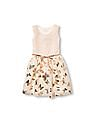 The Children's Place Girls Sleeveless Sparkle Foil Butterfly Print Mesh Belted Woven Dress