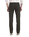 Flying Machine Green Super Slim Fit Solid Trousers