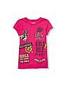 The Children's Place Girls Short Sleeve Glitter Girl Power Statement Patch Graphic Tee