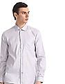 Excalibur Grey French Placket Patterned Shirt