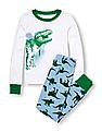 The Children's Place Boys Assorted Long Sleeve Dinosaur Graphic Top And Dinosaur Print Pants PJ Set