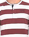 Cherokee Henley Neck Striped Sweatshirt
