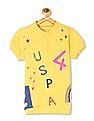 U.S. Polo Assn. Kids Yellow Girls Printed Pique Polo Shirt