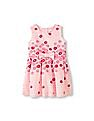 The Children's Place Toddler Girl Pink Sleeveless Flocked Floral Flare Dress With Bow