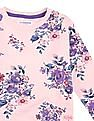 U.S. Polo Assn. Kids Girls Floral Print Cotton Sweatshirt