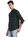 Roots by Ruggers Green Cutaway Collar Check Shirt