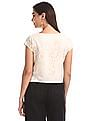 Bronz White Round Neck Layered Top