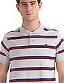 Ruggers Grey Horizontal Stripe Cotton Polo Shirt