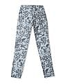 Flying Machine Women Blue Tapered Fit Printed Trousers