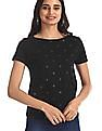 Flying Machine Women Black Polka Dot Print Cotton T-Shirt